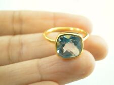4ct. Blue Topaz 14K Gold Vermeil Solitaire 925 Sterling Silver Ring Sz 6 8
