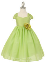 New Girls Lime Green Dress Wedding Pageant Easter Birthday Party Formal 1202