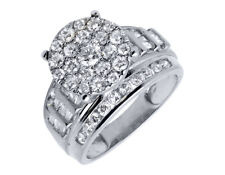 10K White  Gold Flower Round and Baguette Diamond Engagement Ring 2.0ct.