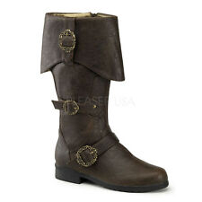 Brown Pirate Medieval Knight Renaissance Faire Mens Costume Boots size 12 13 14