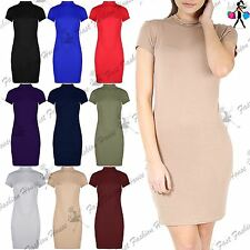 Womens Cowl Neck Long Party T Shirt Dress Ladies Short Cap Sleeve Bodycon Top