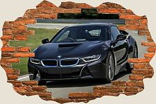3D Hole in Wall Bmw I8 Super Car View Wall Stickers Film Decal Mural 1121