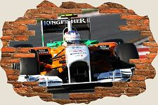 3D Hole in Wall Formula One Car View Wall Stickers Film Mural Art Wallpaper 44