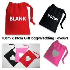 10x13cm Premium Cotton Wedding Favour GIFT BAGS Jewellery Pouches Pink Black Red