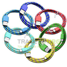 Strong Fabric Braided Micro USB Data Sync Charger Cable Lead For Android Phone
