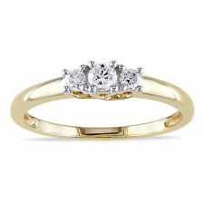 Miadora 14k Yellow Gold 1/4ct TDW Certified Diamond 3-stone Promise Ring (G-H, I
