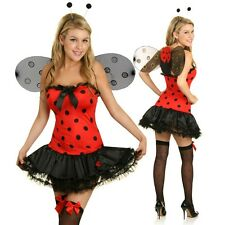 Womens Red Lady Bug Costume Ladybird Beetle Dress Halloween Party Outfit + Wings