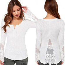 Women Fashion Lace Splicing T Shirt Casual Long Sleeve Tops Ladies Loose Blouse