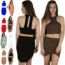 Women Ladies High Low Racer Halter Neck Cropped Top Front Mini Skirt Co Ord Set