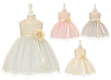 New Baby Flower Girl Two Tone Dress Pageant Wedding Birthday Easter Formal 1142