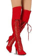 Red Suede Thigh high Boots Lace up Pointy toe High Heel Women's Shoes