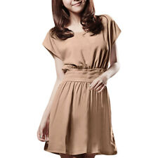 Woman Solid Khaki Scoop Neck Dolman Sleeve Banded Dress