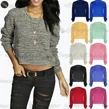 Womens Ladies Full Sleeve Oversized Baggy Knitted Jumper Chunky Crop Sweater Top