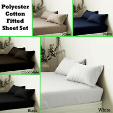 Apartmento Polyester Cotton Fitted Sheet + Pillowcase(s) King Single QUEEN KING
