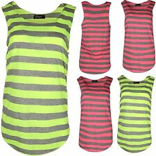 Womens Ladies Sleeveless Horizontal Stripes T Shirt Vest Top
