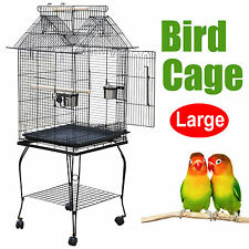 LARGE BIRD PARROT COCKATIEL AVIARY FLIGHT CAGE WIRE BREEDING AFRICAN STAND WHEEL
