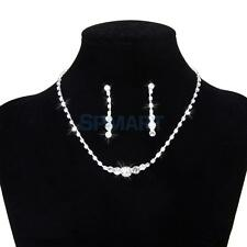 Crystal Diamante Necklace Earring Wedding Bridesmaid Prom Jewelry Set