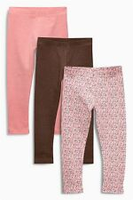 Bnwt Next Girls Leggings *3 PAIRS* Pink/Brown/Floral 3-4-5-6 yrs