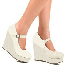 Beige Linen Mary Jane Wedge Round toe Pump Romie Women's High Heel shoes