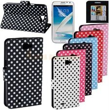 Polka Dots Wallet Stand PU Leather Case Cover Pouch Samsung Galaxy Note II N7100