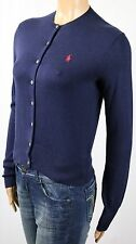 Ralph Lauren Navy Blue Cotton Wool Cardigan Sweater Red Pony NWT
