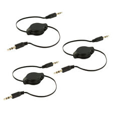 3X Black 3.5mm Retractable Audio AUX Auxiliary Cable Cord for Car iPod MP3