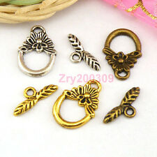20Sets Tibetan Silver,Gold,Bronze Leaf Circle Connectors Toggle Clasps M1384