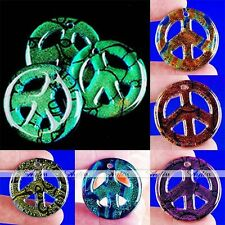38mm Beauty Dichroic Lampwork Glass Peace Symbol Bead Pendant For Chain Necklace