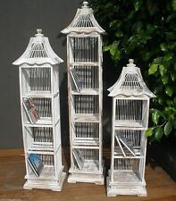 1 x Balinese Whitewash Decorative Bamboo Birdcage CD Holder Shelf Storage #529