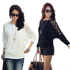 Women T-Shirts Korean Style Knitting Lace Collar Batwing Long Sleeve Blouse Tops