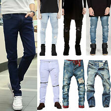 Men's Skinny Jeans Slim Fit Straight Biker Trousers Ripped Denim Pencil Pants