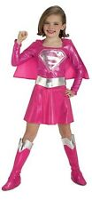 Girls Pink Supergirl Superman Super Hero Book Day Fancy Dress Costume Outfit