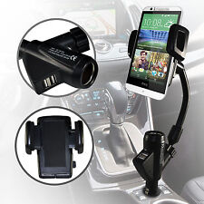 Rotatable Dual USB Car Charger Cradle Mount Holder for Various HTC Mobile Phones