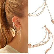 Gold Tone Punk Women Rock Leaf Chain Tassel Dangle Ear Cuff Wrap Earrings YJ