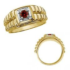 0.5 Carat Red Diamond Fancy Solitaire Nugget Mans Ring 14K White Yellow Gold