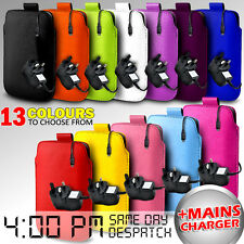 LEATHER PULL TAB POUCH CASE COVER & MAINS CHARGER FOR VARIOUS ALCATEL MOBILE