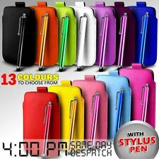 LEATHER PULL TAB SKIN CASE COVER POUCH & STYLUS FOR VARIOUS HTC MOBILE