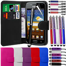 PU Leather Wallet Case Cover, LCD Film & 3 Pen Set for Samsung Galaxy W i8150