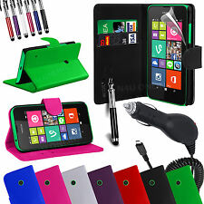 Stand Wallet Flip Case Cover, LCD Film, Pen & Car Charger For Nokia Lumia 530