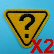 2 Question Warning Triangle Iron on Sew Patch Cute Applique Badge Embroidered