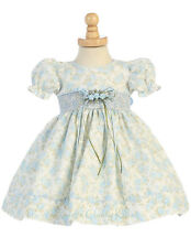 New Baby Flower Girl Floral Print Cotton Blue Dress Pageant Easter Wedding M694