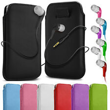 PU Leather Pull Tab Pouch Case Cover & Earbud Earphone for Various Mobiles