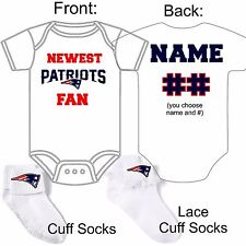 PERSONALIZED NEW ENGLAND PATRIOTS FAN BABY GERBER ONESIE /SOCKS CUSTOM MADE GIFT
