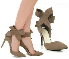 Wild Diva Taupe Pointy toe Bow Pump High Heel Women's shoes Akira-24