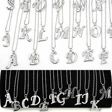 Silver Crystal Rhinestone A-Z Letter Charm Initial Alphabet Pendant Necklace WEB