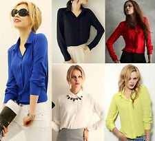 Women Ladies Chiffon Long Sleeve Career Casual Blouse Loose Button Down T-Shirt