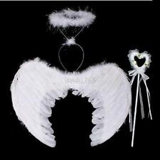 3PCS Kids Girls Adult Women Feather Angel Wings Costume +Wand Halo Fancy Dresses