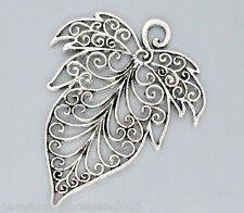 Wholesale Lots Silver Tone Leaf Charms Pendants 56x72mm