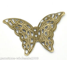 Wholesale Lots Craft Bronze Tone Butterfly Wraps Connectors 4.1x2.9cm