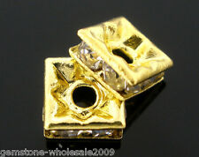 Wholesale Lots Rhinestone Square Spacers Beads 6x6mm Findings
